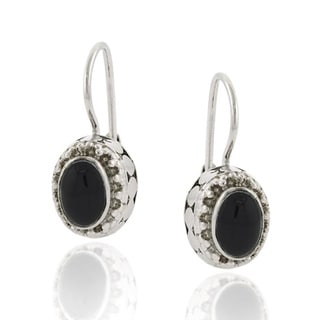 Glitzy Rocks Sterling Silver Oval Onyx Leverback Earrings