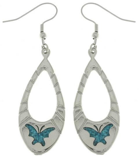 Carolina Glamour Collection Turquoise Butterfly Dangle Earrings - Green