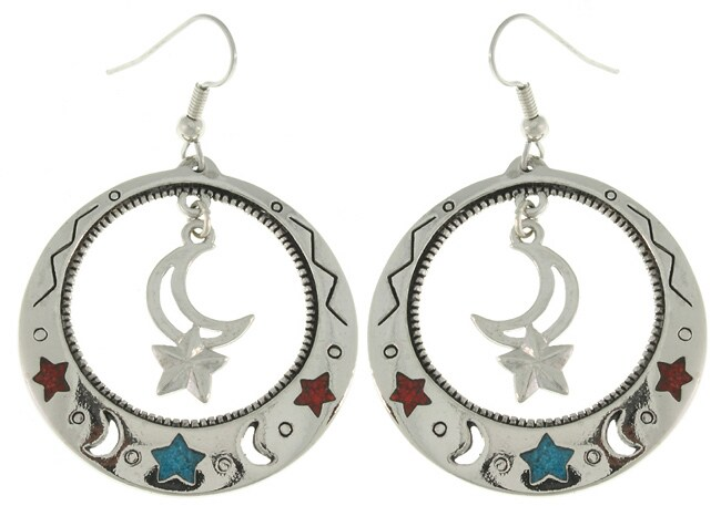 Carolina Glamour Collection Moon and Star Large Dangle Earrings