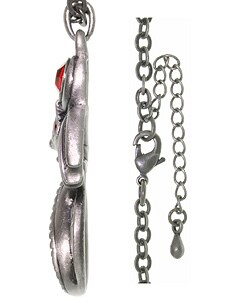 Carolina Glamour Collection Fire Gem Dragon Pewter Unisex Necklace - Thumbnail 1
