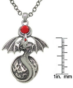 Carolina Glamour Collection Fire Gem Dragon Pewter Unisex Necklace - Thumbnail 2