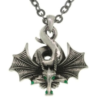 Curled Dragon Pewter Unisex Necklace