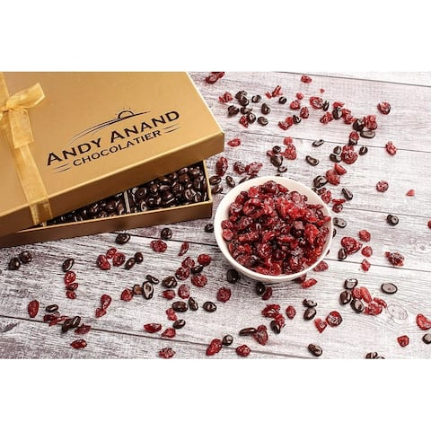 Andy Anand Chocolates Basket Premium California Cranberries covered with Dark Chocolate, Greeting Card For Birthday Anniversary