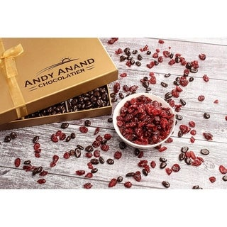 Link to Andy Anand Chocolates Basket Premium California Cranberries covered with Dark Chocolate, Greeting Card For Birthday Anniversary Similar Items in Gourmet Food Baskets