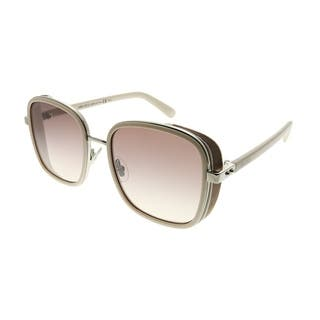 f0b8f3bb4465 Jimmy Choo Rectangle JC Elva 8U0 Women Ivory Palladium Frame Brown Gradient  Lens Sunglasses