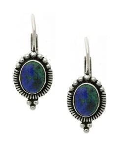 Glitzy Rocks Sterling Silver Azurite Leverback Earrings