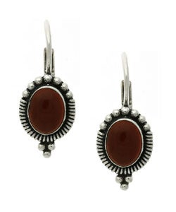 Glitzy Rocks Sterling Silver Carnelian Leverback Earrings
