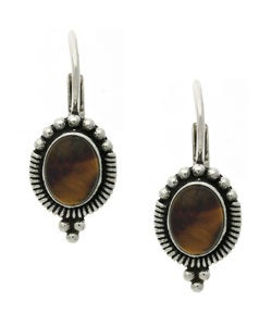 Glitzy Rocks Sterling Silver Tiger's Eye Leverback Earrings