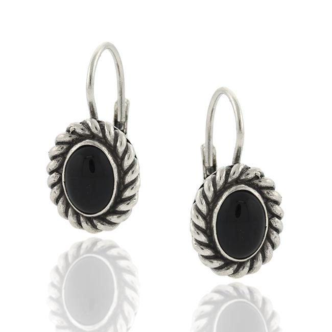 Glitzy Rocks Sterling Silver Black Onyx Leverback Earrings