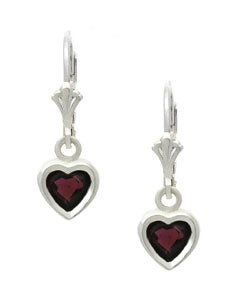 Glitzy Rocks Sterling Silver Heart Garnet Leverback Earrings