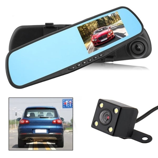4.3/'/' HD 1080P Dual Lens Car DVR Rearview Mirror Dash Cam Recorder Camera LOT