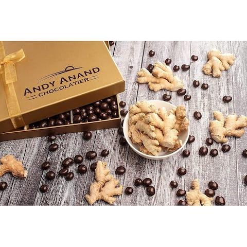 Andy Anand Chocolate California Dark Chocolate Covered Ginger 1 lbs Handwritten Greeting Card For Birthday, Anniversary