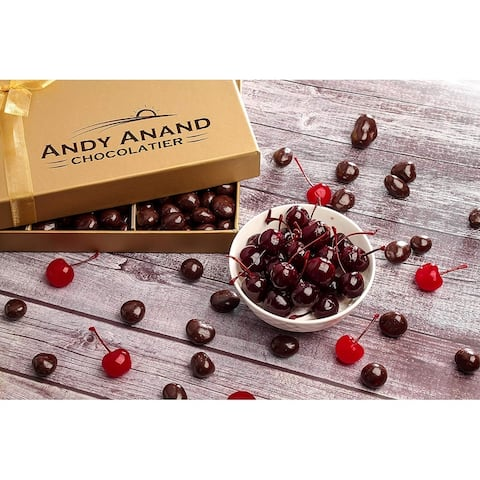Andy Anand California Dark Chocolate Covered Cherries 1 LB, for Birthday, Fathers Day Gourmet Christmas Food Basket