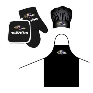 NFL Baltimore Ravens Sports Team Logo Barbeque Apron, Chef's Hat and Pot Holder Deluxe Set