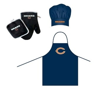NFL Chicago Bears Sports Team Logo Barbeque Apron, Chef's Hat and Pot Holder Deluxe Set