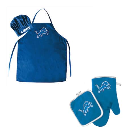 NFL Detroit Lions Sports Team Logo Barbeque Apron, Chef's Hat and Pot Holder Deluxe Set