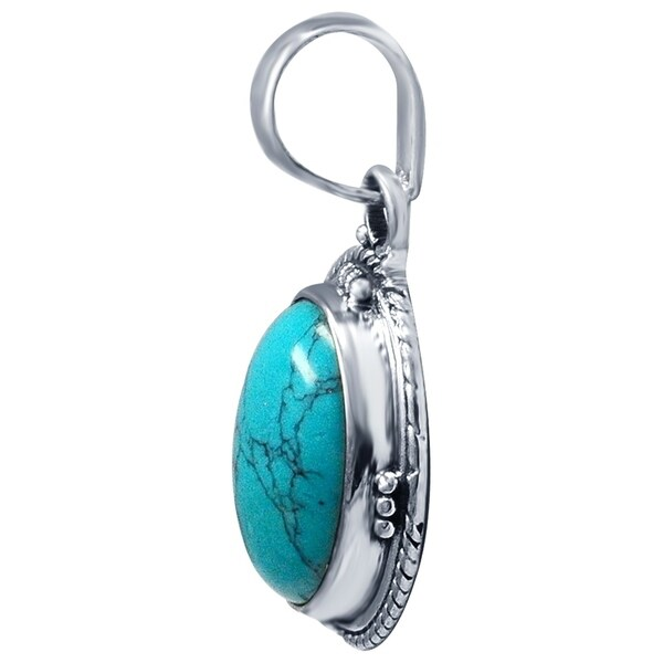 Turquoise Vintage Pendant Necklace Southwest Jewelry for Women 925 Sterling Silver 1.25 ctw