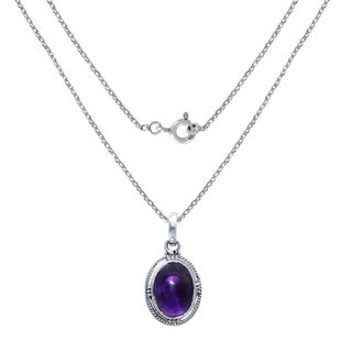 925 Sterling Silver Necklace With Turquoise And Amethyst Oval Shape