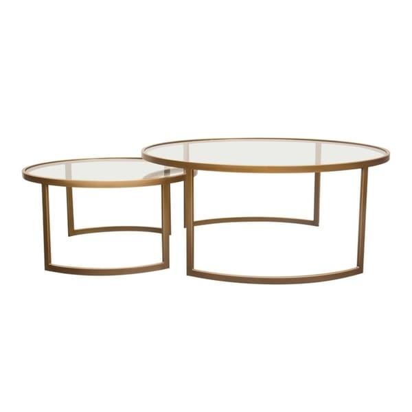 Diamond Sofa Lane Brushed Gold Frame 2-piece Round Nesting Table Set