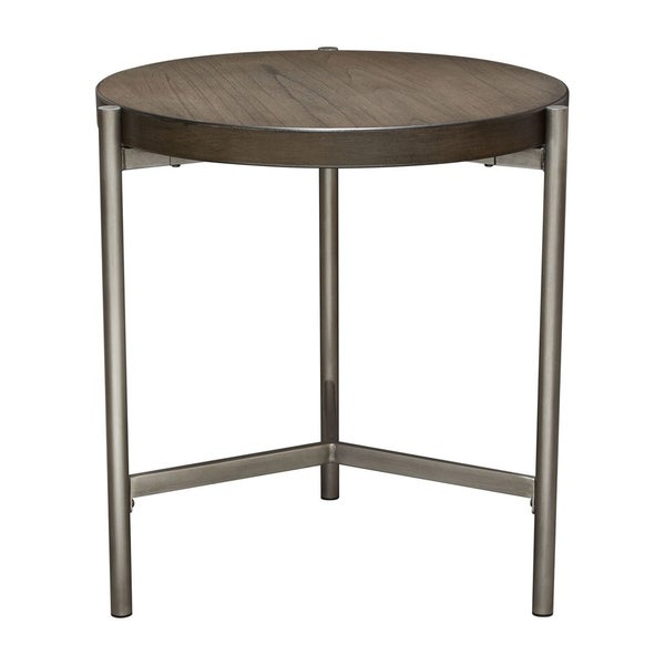 "Diamond Sofa Atwood 22"" Round End Table with Grey Oak Veneer Top and Brushed Silver Metal Base"
