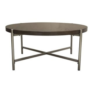 Diamond Sofa Atwood 40-inch Round Grey Oak Veneer Cocktail Table
