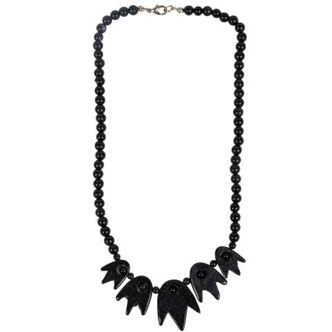 Genuine Blue Sandstone Necklace with Pendant Look By Gempro - drop length: 17 inches / 43 cm