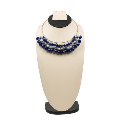 Genuine Sodalite and Jade Choker By Gempro - Blue - drop length: 16 inches / 40.64 cm