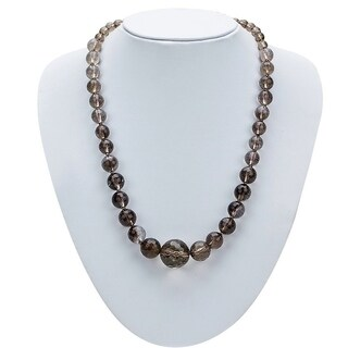 Genuine Jasper Graduating Necklace By Gempro - Brown - drop length: 18 inches / 46 cms