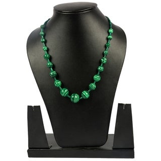 Genuine Green Malachite Handcrafted & Graduating Beaded Necklace By Gempro - drop length: 18 inches / 46 cm