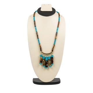 Beautiful Forest Jasper Necklace By Gempro - Blue, Brown - drop length: 30 inches / 76.2 cm