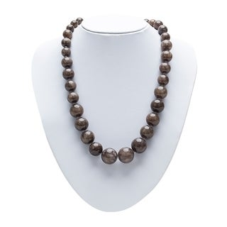 Genuine Jade Graduating Statement Necklace in Brown By Gempro - drop length: 17 inches/ 43.18 cm