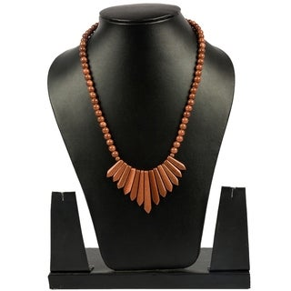 Genuine Sandstone Necklace with Fan Pendant By Gempro - Golden Brown - drop length: 18 inches / 46 cm