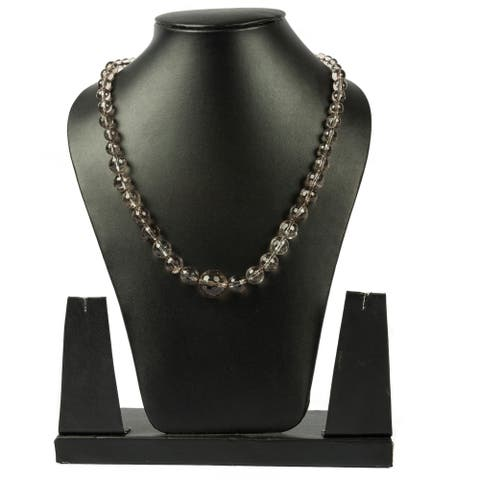 Genuine Smoky Quartz Faceted Graduating Necklace by Gempro - Brown - drop length: 18 inches / 46 cms