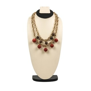 Trendy Link Necklace with Jasper and Agate By Gempro - drop length: 24 inches / 60.96 cm