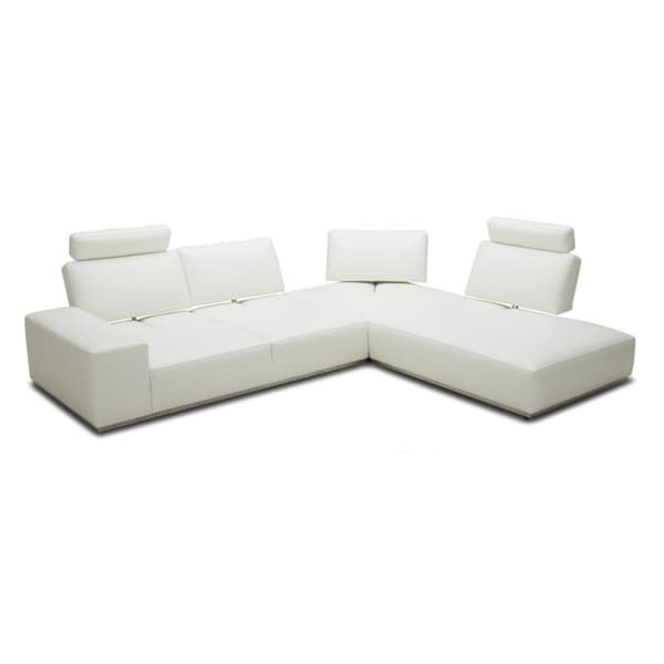 Divani Casa Martha Modern White Leather Sectional Sofa