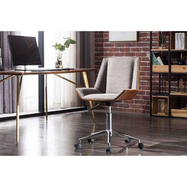 Porthos Home Fae Wood Office Chair, Adjustable Height, Hemp Fabric