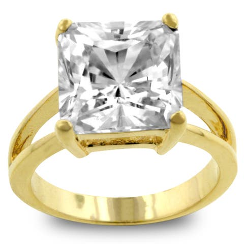 Kate Bissett Goldtone Clear CZ Solitaire Ring