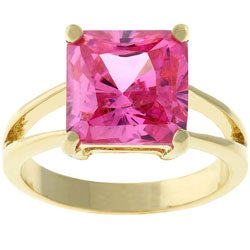Kate Bissett Goldtone Pink CZ Solitaire Ring