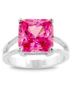 Kate Bissett Silvertone Pink CZ Solitaire Ring
