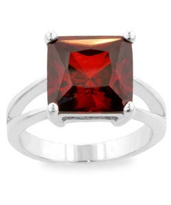 Kate Bissett Silvertone Dark Red Cubic Zirconia Solitaire Ring