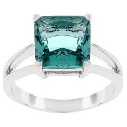 Kate Bissett Silvertone Blue CZ Solitaire Ring