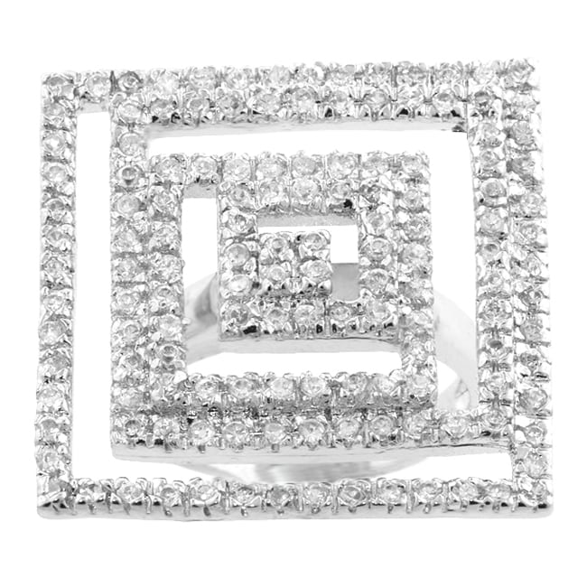 Kate Bissett Silvertone CZ Oversized Inscribed Squares Ring