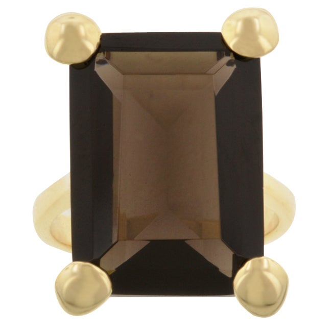 Kate Bissett Goldtone  Smokey Brown Cubic Zirconia Cocktail Ring