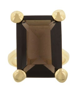 Kate Bissett Goldtone  Smokey Brown Cubic Zirconia Cocktail Ring