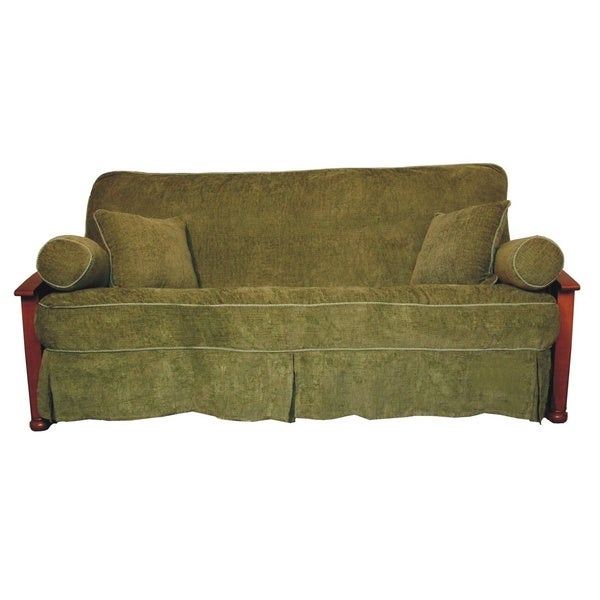 Chenille Skirted Sofa: Jacquard Chenille Full-sized Skirted Futon Cover Set