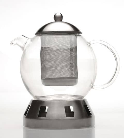 4-piece Glass Teapot w/ Strainer & Warmer