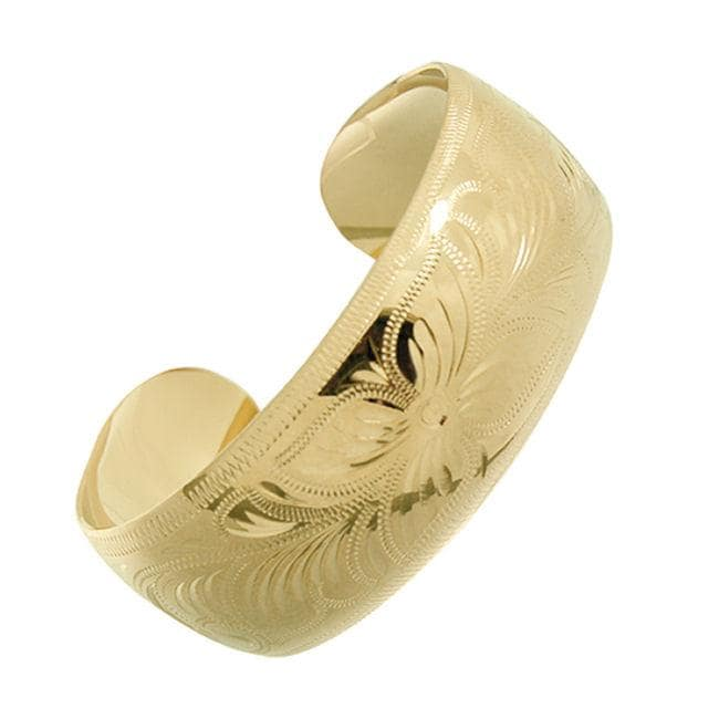 14k Goldfill Floral Cuff Bangle Bracelet (Mexico) - Thumbnail 0