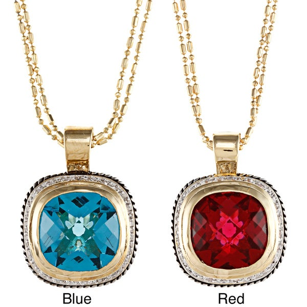 Kate Bissett Two-tone Red or Blue CZ and Clear CZ Accent Pendant