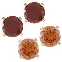 Kate Bissett Goldtone Oval Red or Champagne CZ Stud Earrings