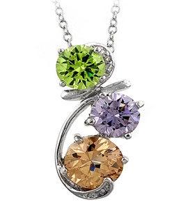 Kate Bissett Silvertone  Multi-colored CZ Drop Pendant